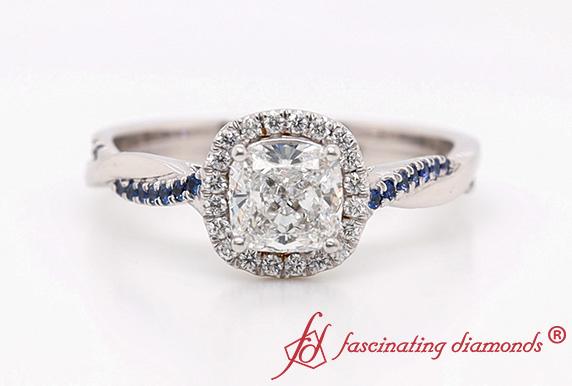 Vine Cushion Lab Diamond Halo Ring