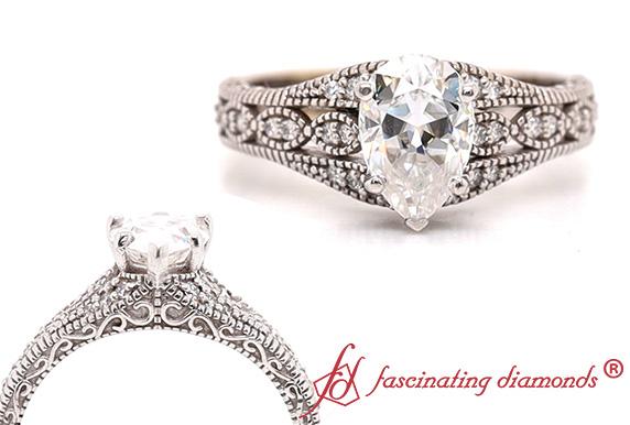 Antique Pear Moissanite Ring