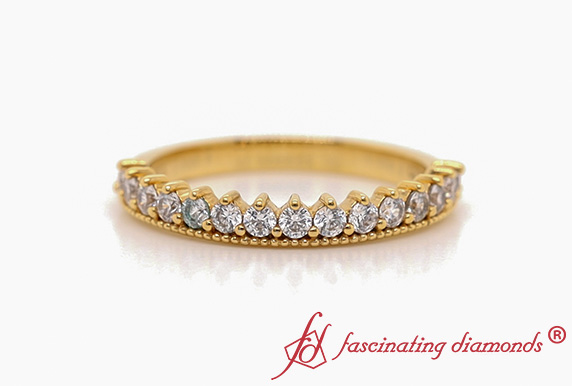 Round Stacking Diamond Wedding Band In Gold