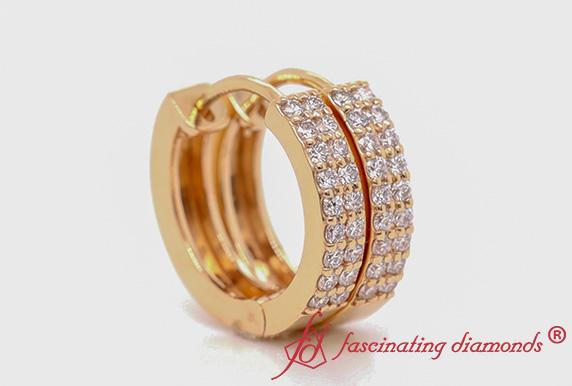 2 Row Diamond Small Hoop Earring In Gold