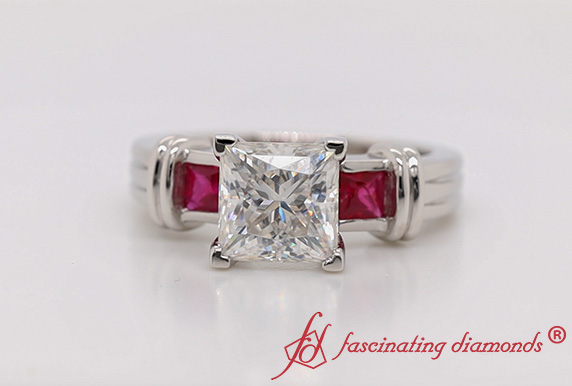 Bar 3 Stone Square Moissanite Ring