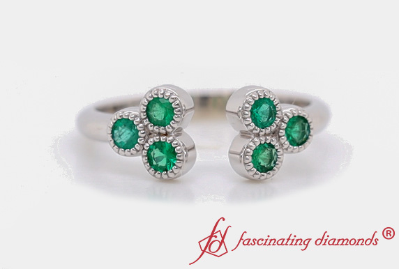 Cluster Emerald Open Cuff Ring