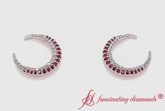 Moon Diamond Earring With Ruby