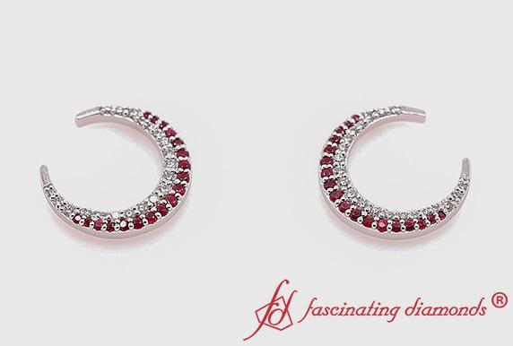 Moon Diamond Earring With Ruby