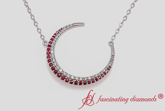 Crescent Moon Diamond Pendant With Ruby In 18K White Gold