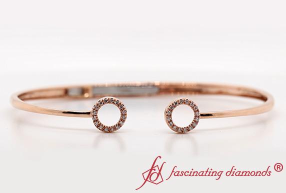 Crossover Open Circle Diamond Bracelet In Rose Gold
