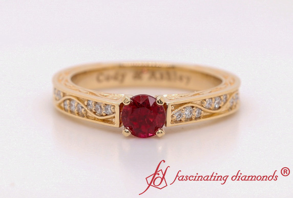 Gold Vintage Round Ruby Ring
