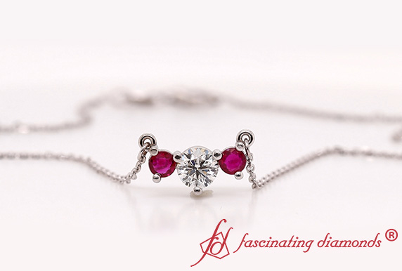 3 Stone Diamond Necklace With Ruby In White Gold