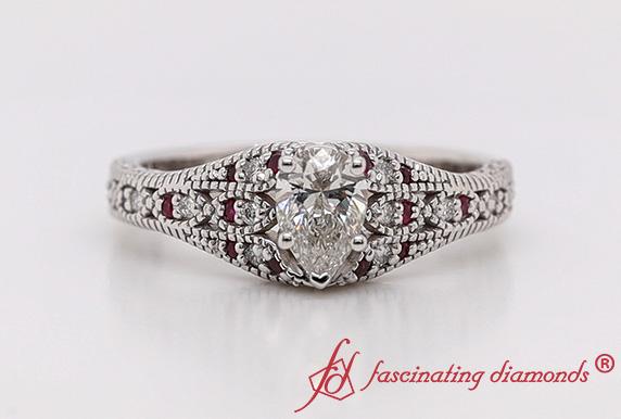 Filigree Pear Lab Diamond Ring