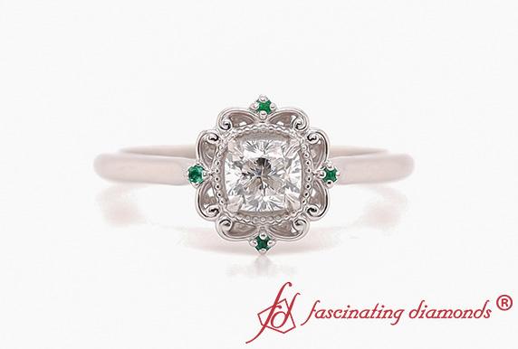 Cushion Halo Filigree Emerald Ring