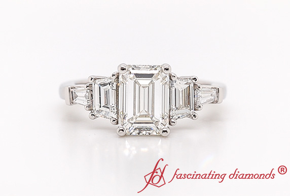 5 Stone Trapezoid Lab Diamond Ring