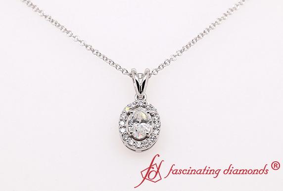 Halo Oval Diamond Pendant