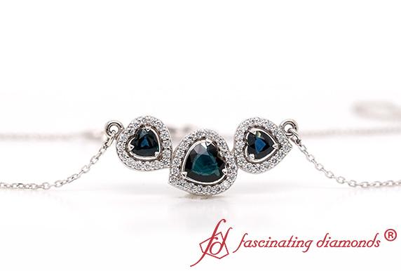 Heart Sapphire 3 Stone Pendant
