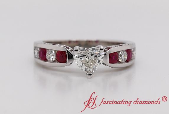 Tapered Heart Diamond Ring