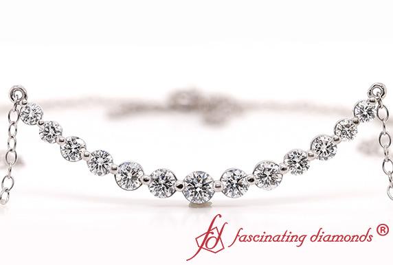 Graduated Diamond Simple Curved Necklace