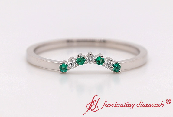 Curved Diamond Band With Emerald