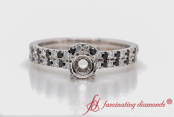 Semi Mount Hidden Halo Ring With Black Diamond Curved Band In White Gold