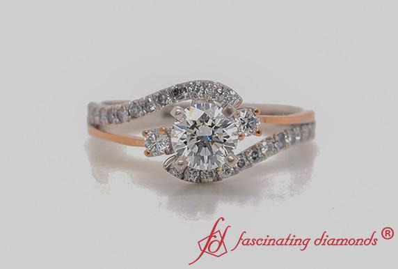 Two Tone 3 Stone Lab Diamond Swirl Ring In White Gold