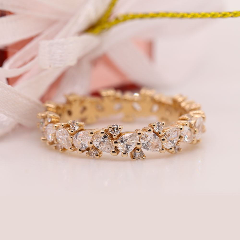 1.50 Ct. Pear Eternity Diamond Band In 14K Yellow Gold