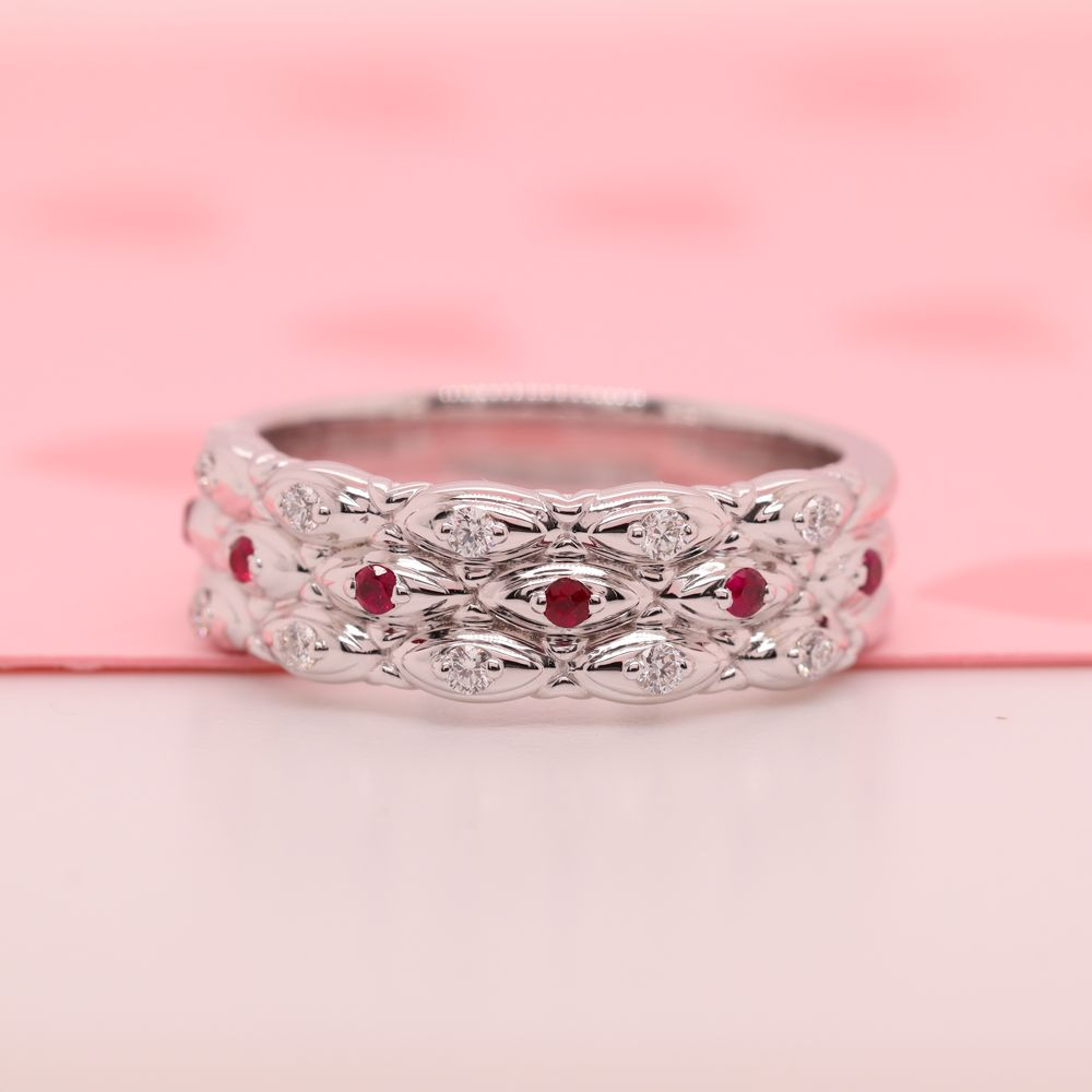 3 Row Vintage Diamond Band With Ruby In 14K White Gold