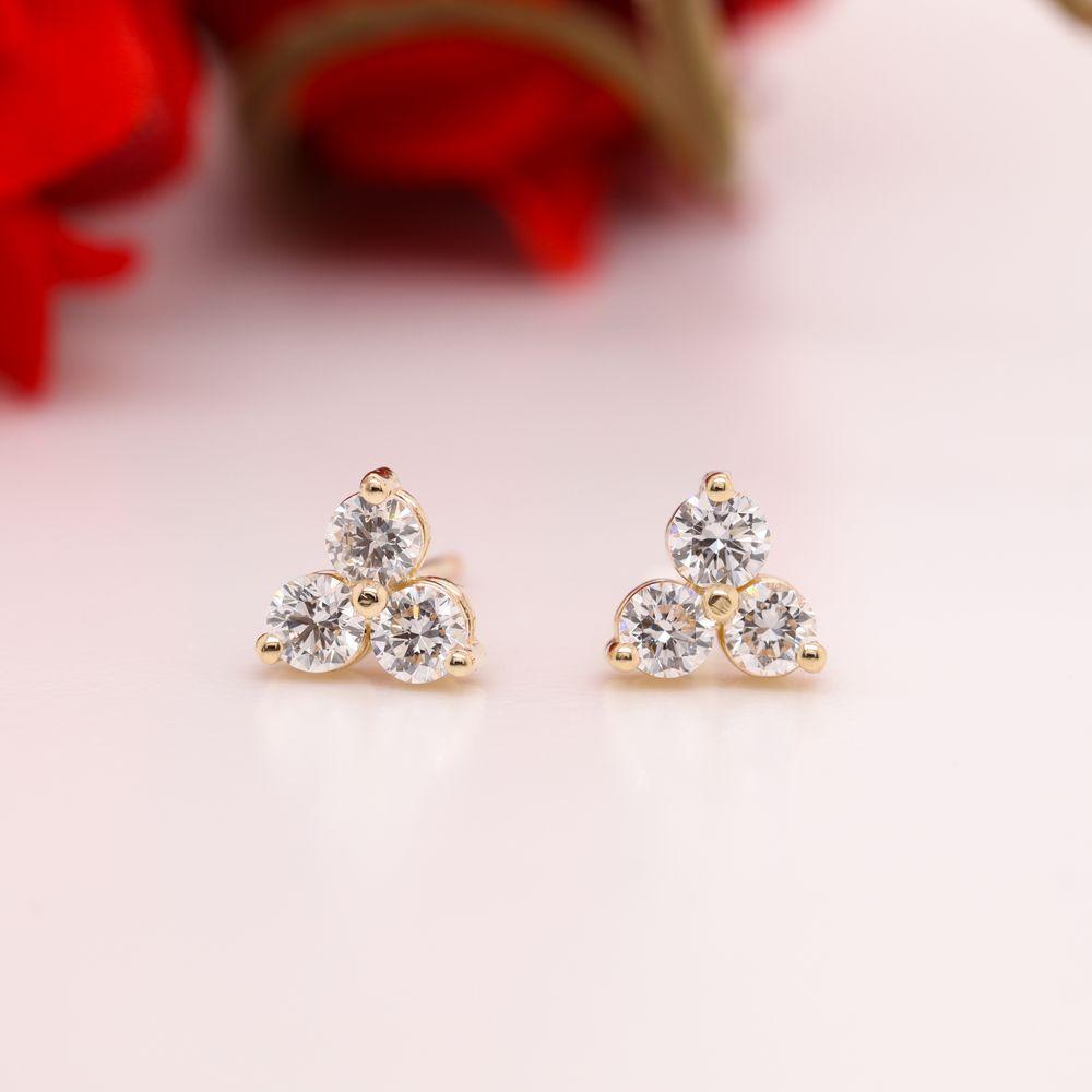 3 Stone Small Diamond Stud Earring For Women In 14K Yellow Gold