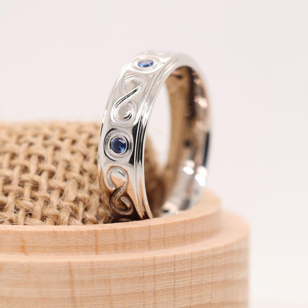 Bezel Set Mens Sapphire Wedding Band In 14K White Gold