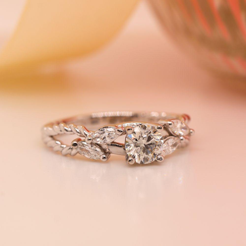 Braided Round Cut Diamond Engagement Ring In 14K White Gold