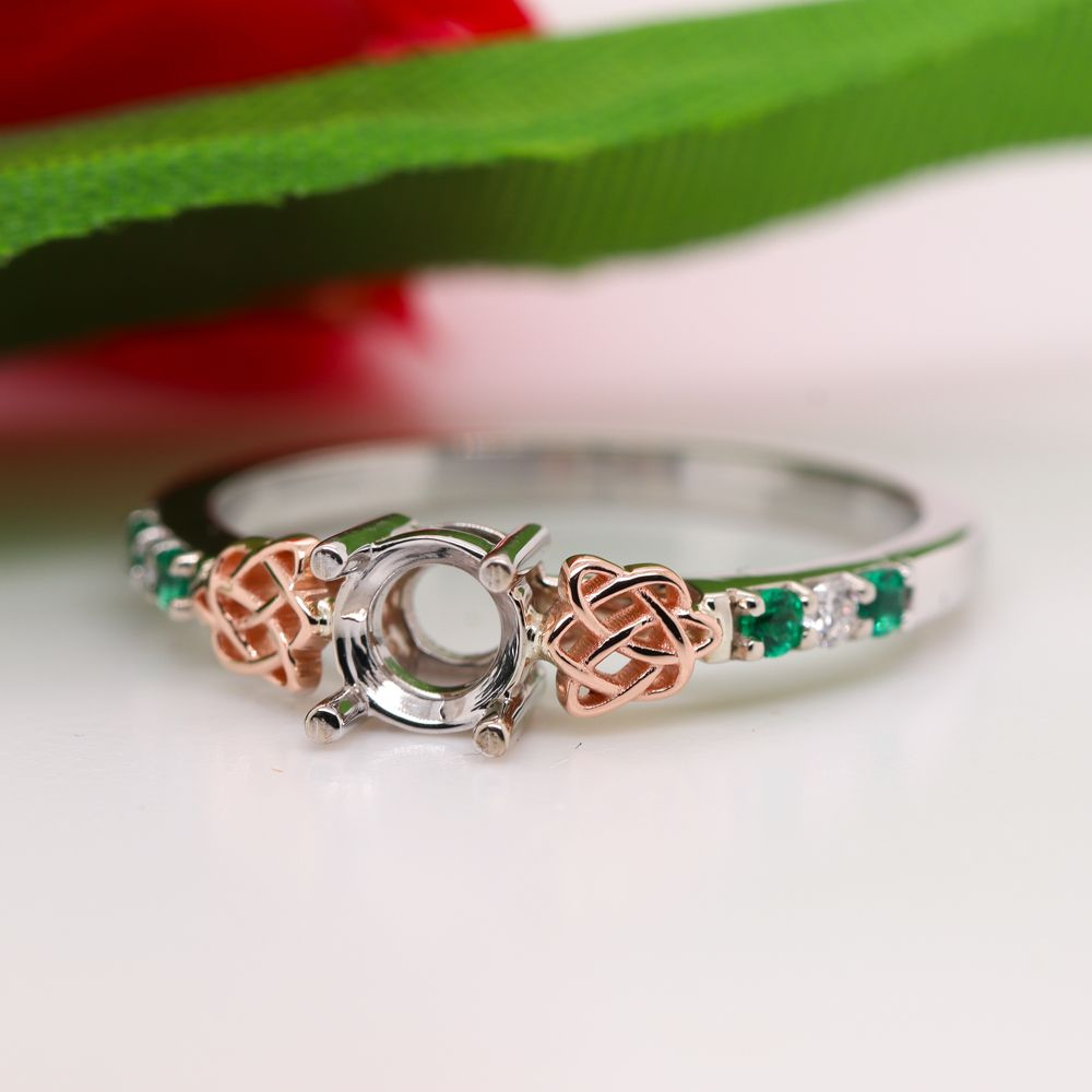 Celtic Semi Mount Diamond Engagement Ring With Emerald In 14K White Gold