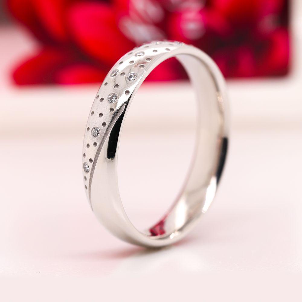 Classic Mens Diamond Wedding Ring In 950 Platinum
