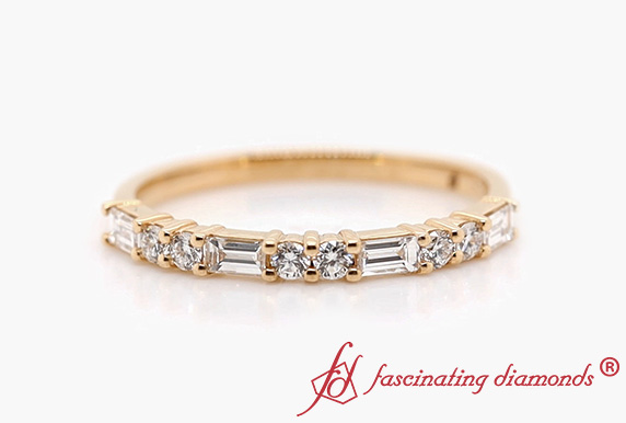 Delicate Baguette And Round Band