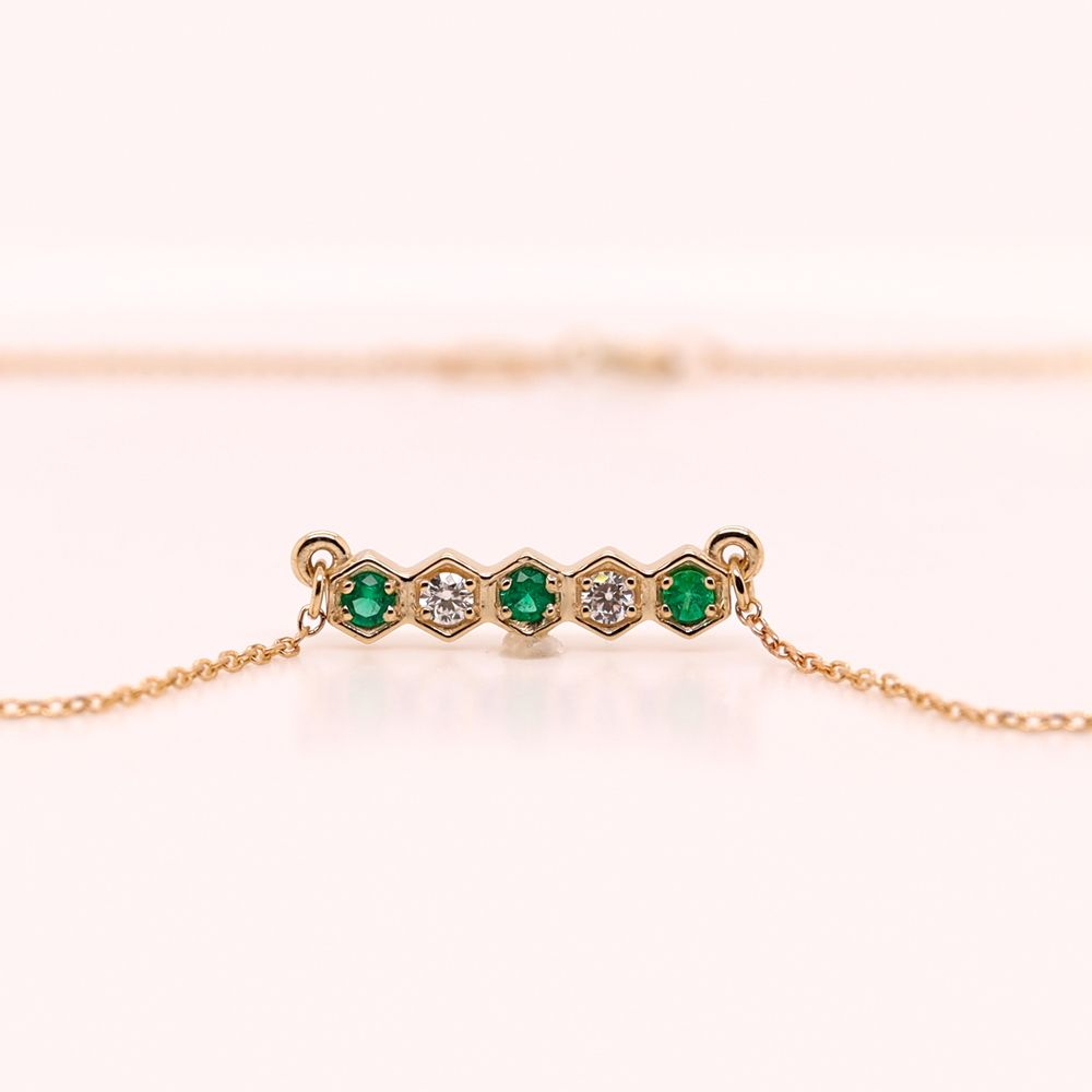 Pave Hexagon Diamond Necklace With Emerald In 14K Yellow Gold