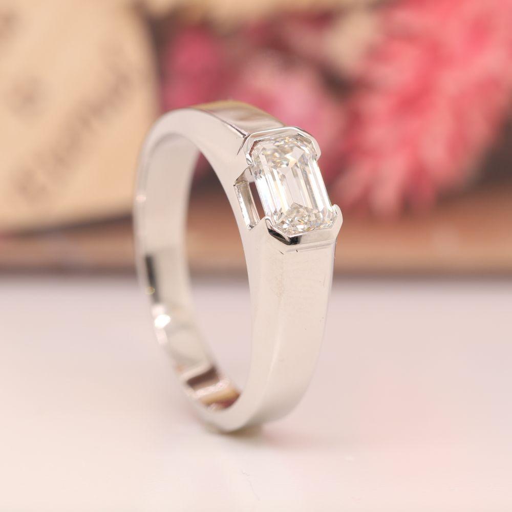 Half Bezel Emerald Cut Mens Diamond Wedding Ring In 14K White Gold