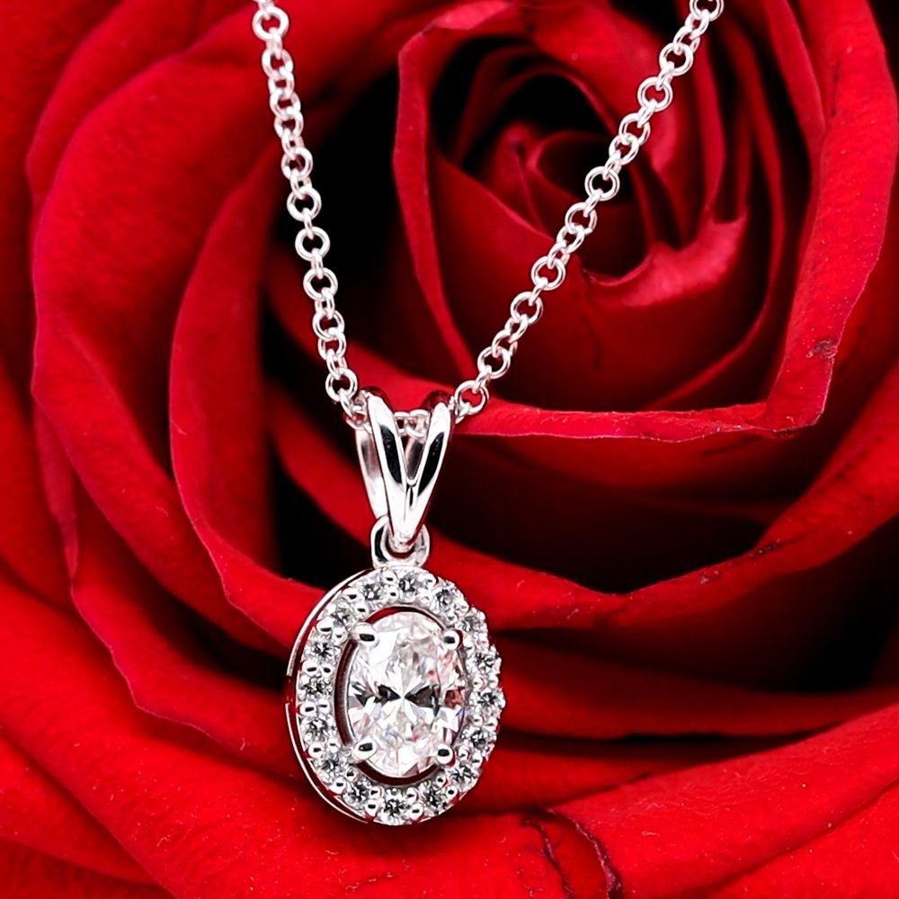 Halo Oval Diamond Pendant In 18K White Gold