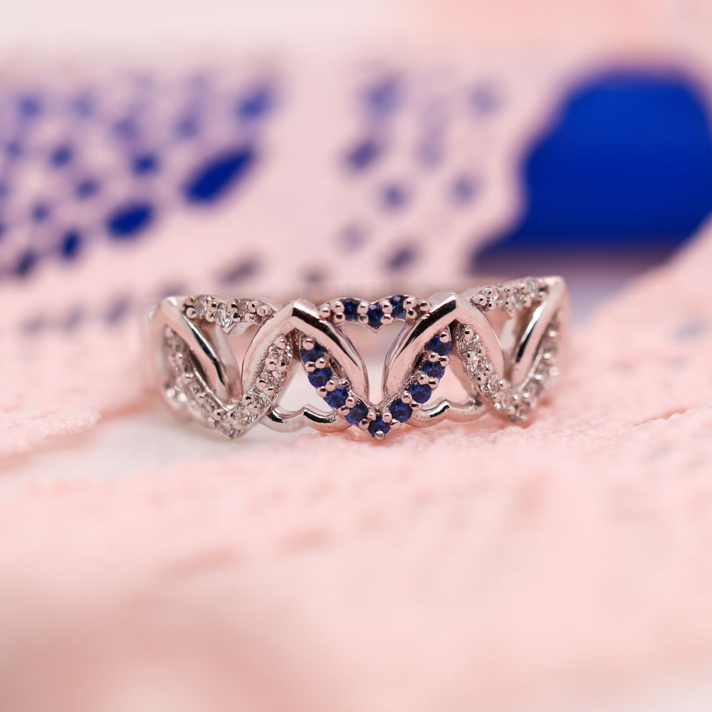 Interweaved Heart Design Diamond Wedding Band With Sapphire In 14K White Gold