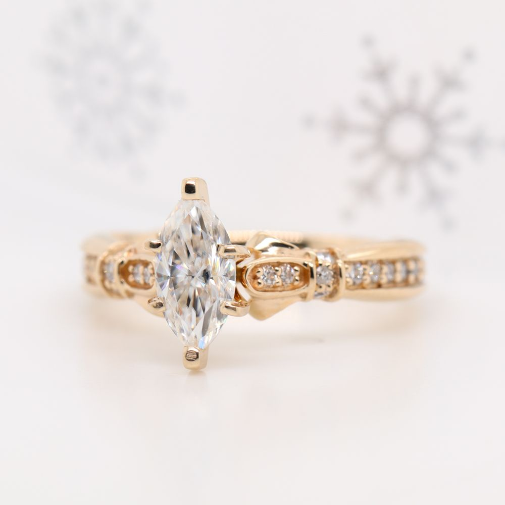 Marquise Cut Antique High Set Moissanite Ring In 14K Yellow Gold