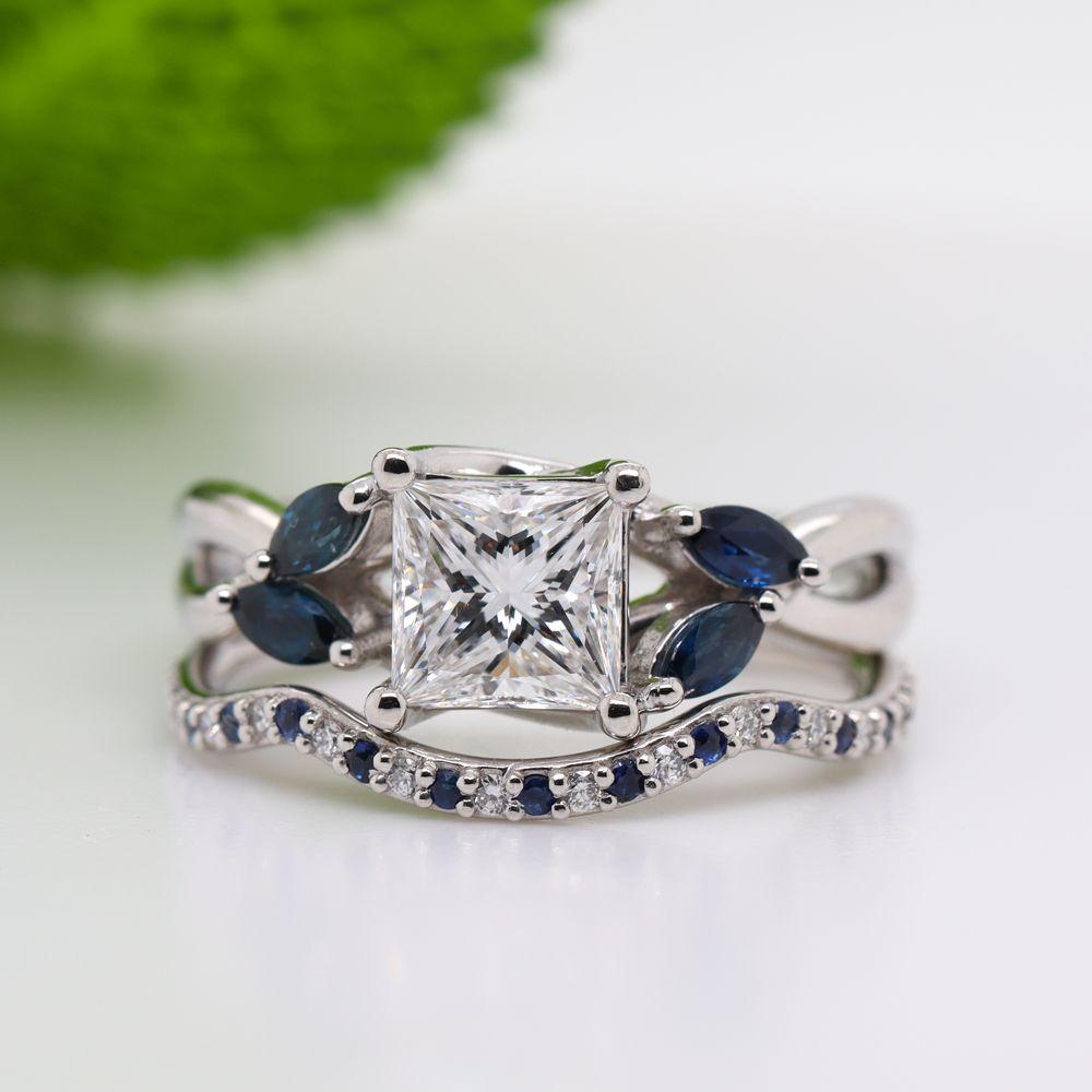 Princess Cut Twisted Diamond Bridal Set With Sapphire In Platinum