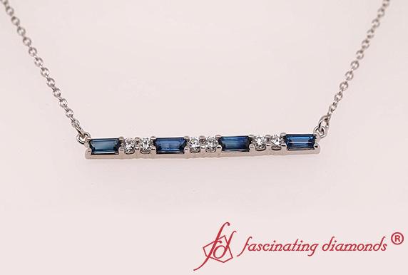 Sapphire Baguette Bar Diamond Necklace