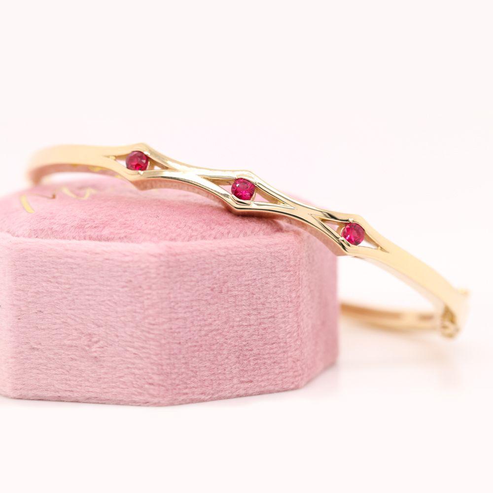 Three Stone Ruby Bracelet Bangle For Women In 14K Yellow Gold