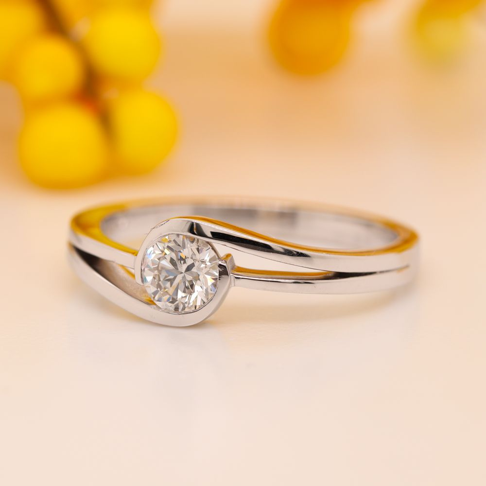 Twist Solitaire Lab Diamond Engagement Ring In 14K White Gold