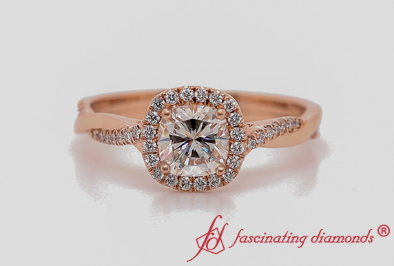 Vine Cushion Halo Diamond Ring