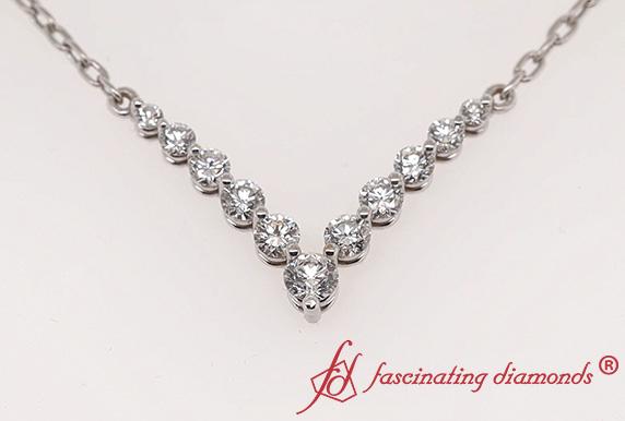 V Shaped Graduated Diamond Necklace