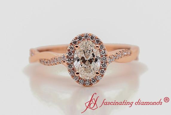Vine Oval Halo Diamond Ring