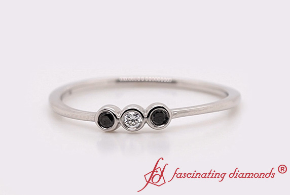 3 Stone Bezel Set Delicate Ring