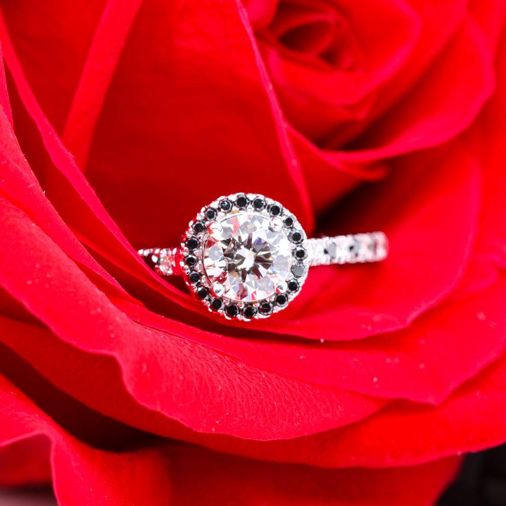 Black Diamond Pave Halo Vintage Engagement Ring In 14K White Gold