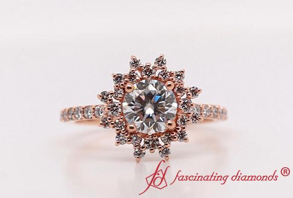 Floral Art Deco Moissanite Ring