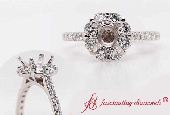 Flower Halo Semi Mount Diamond Ring