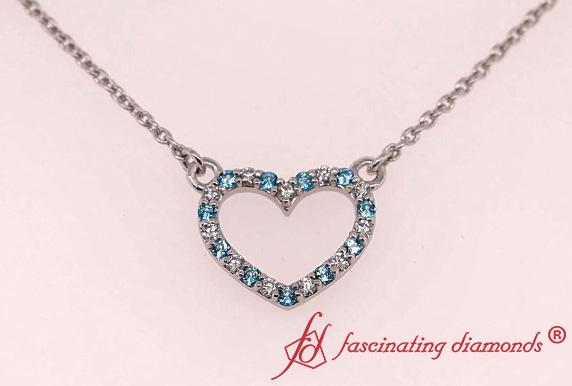 Open Heart Diamond And Topaz Pendant