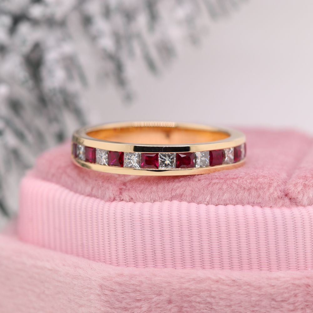 Princess Cut Diamond Wedding Band For Women With Ruby In 18K Yellow Gold