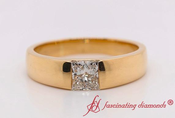 Lab Diamond Mens Solitaire Ring
