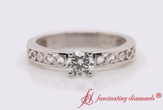 Diamond Engraved Solitaire Ring